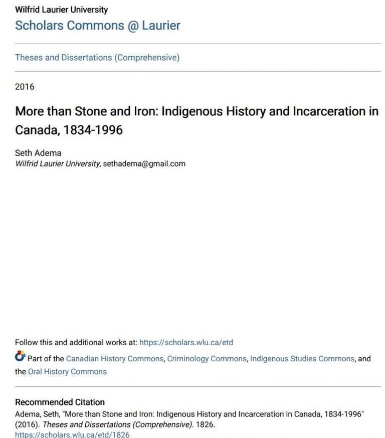 Read more about the article More than Stone and Iron: Indigenous History and Incarceration in Canada, 1834-1996
