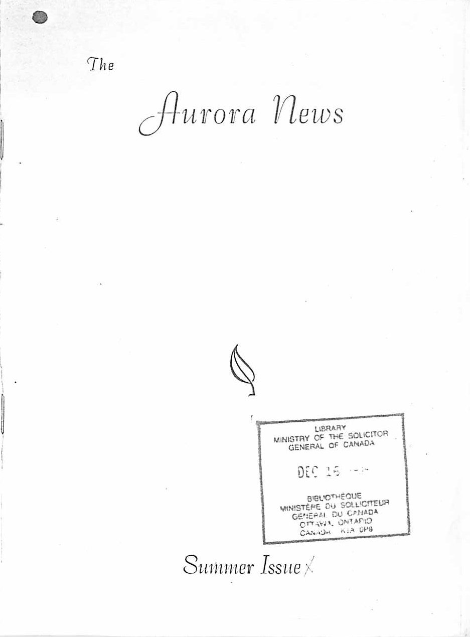Read more about the article The Aurora News – Summer 1960
