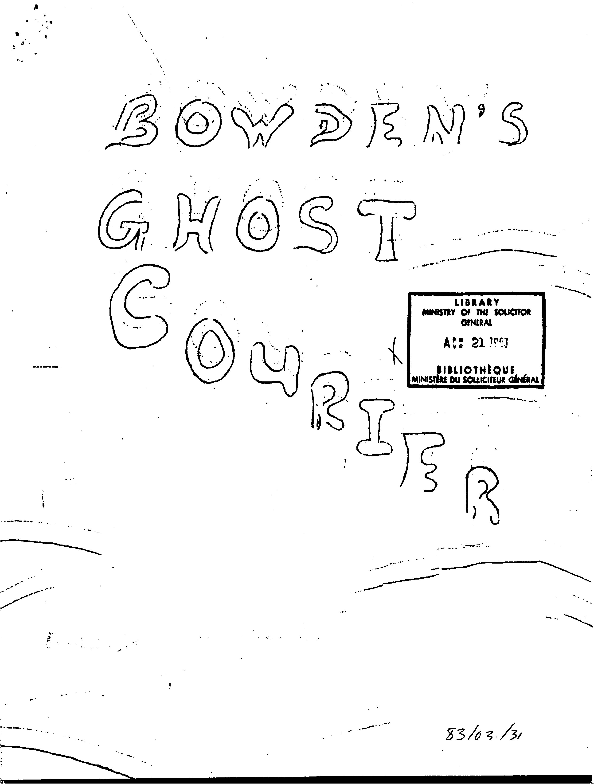 Read more about the article The Bowden Ghost Courier – March 1983