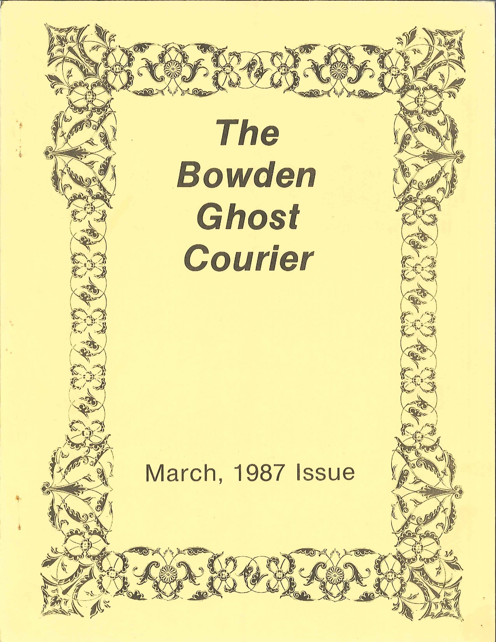 Read more about the article The Bowden Ghost Courier – March 1987