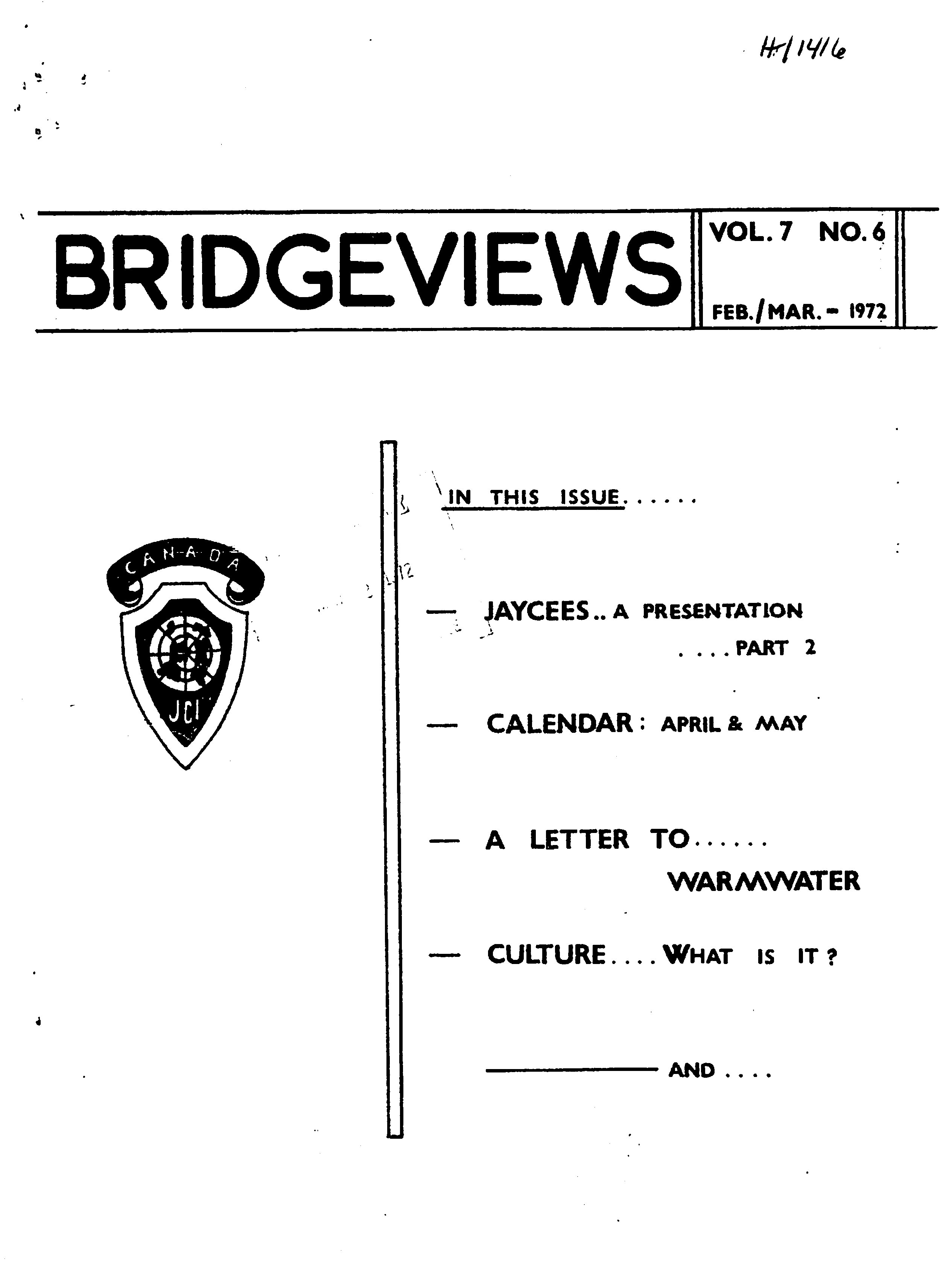 Read more about the article Bridgeviews – February/March 1972