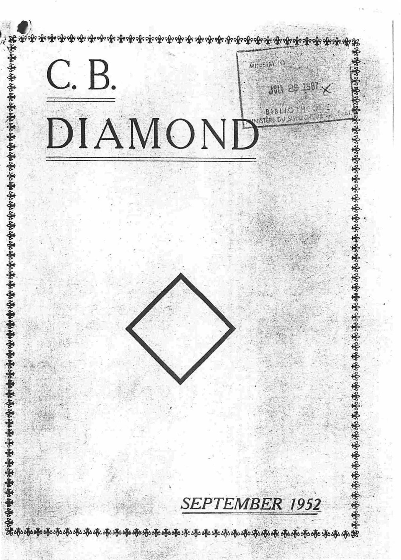 Read more about the article C.B. Diamond – September 1952