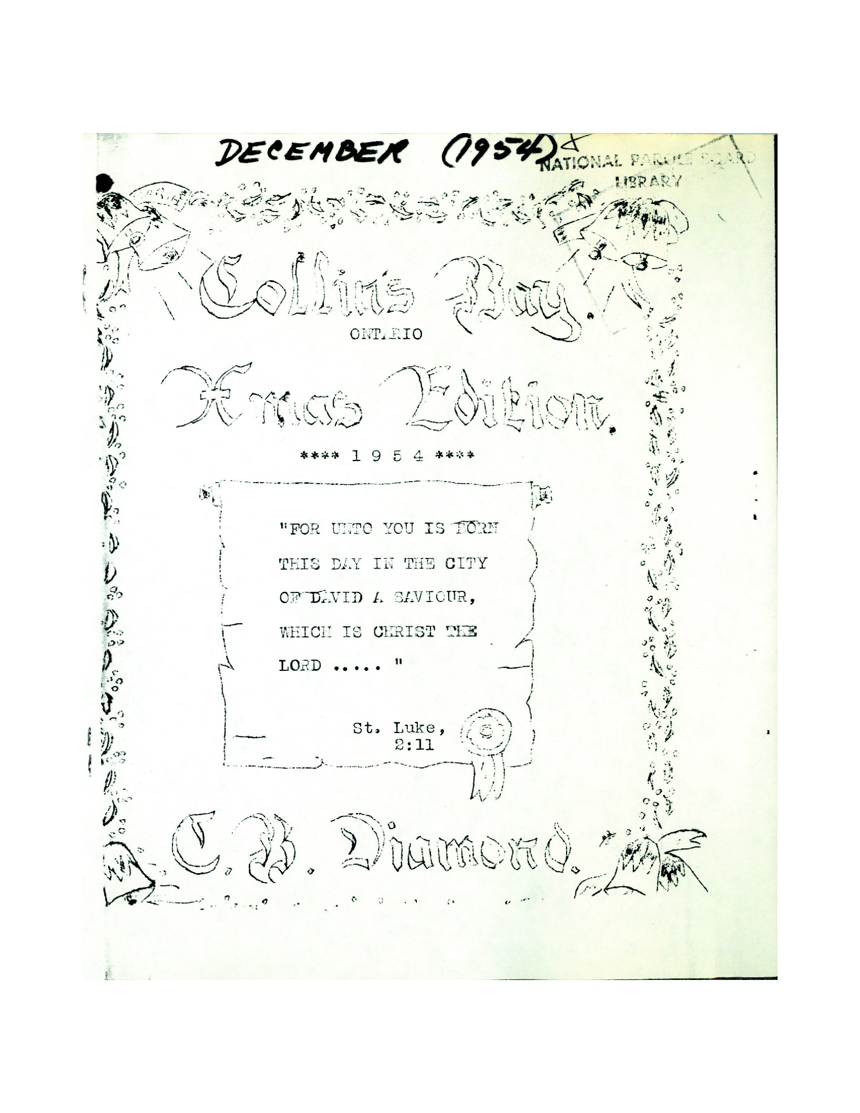Read more about the article C.B. Diamond – December 1954