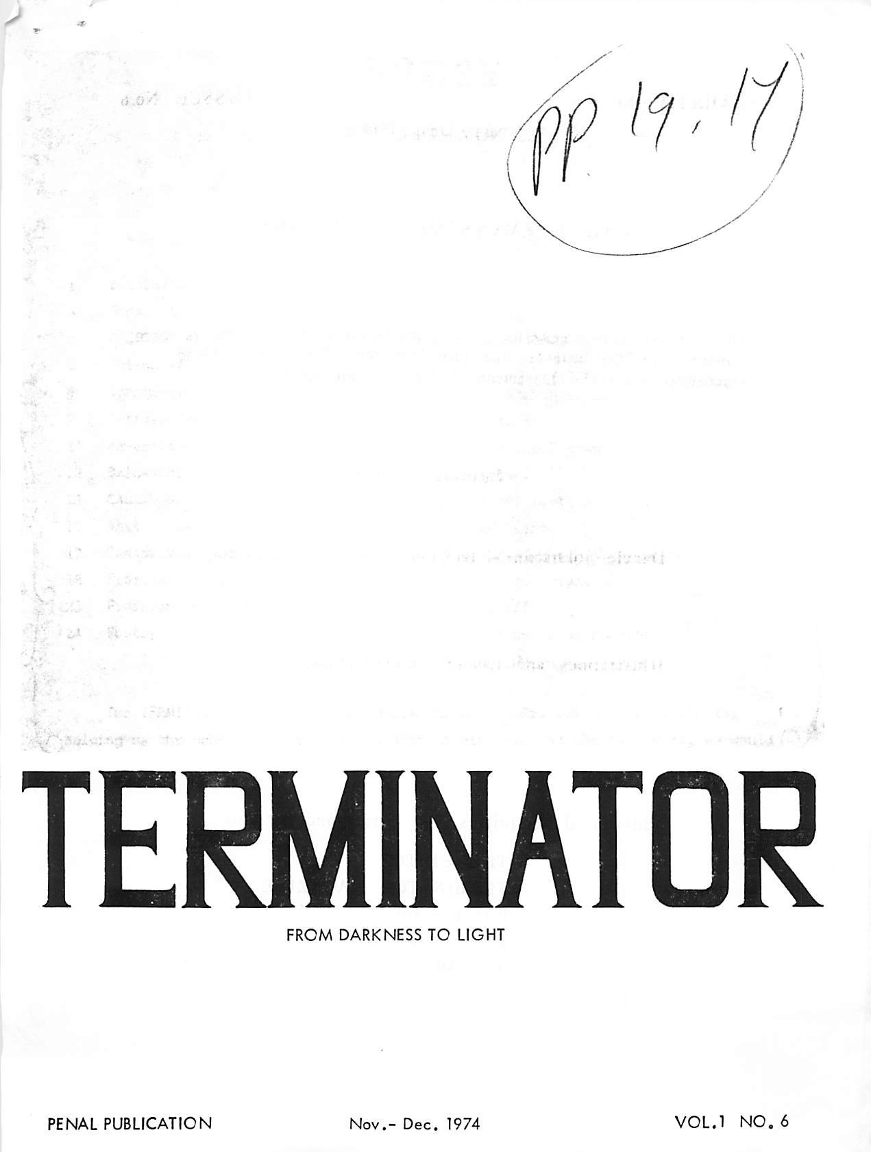Read more about the article Terminator – November/December 1974