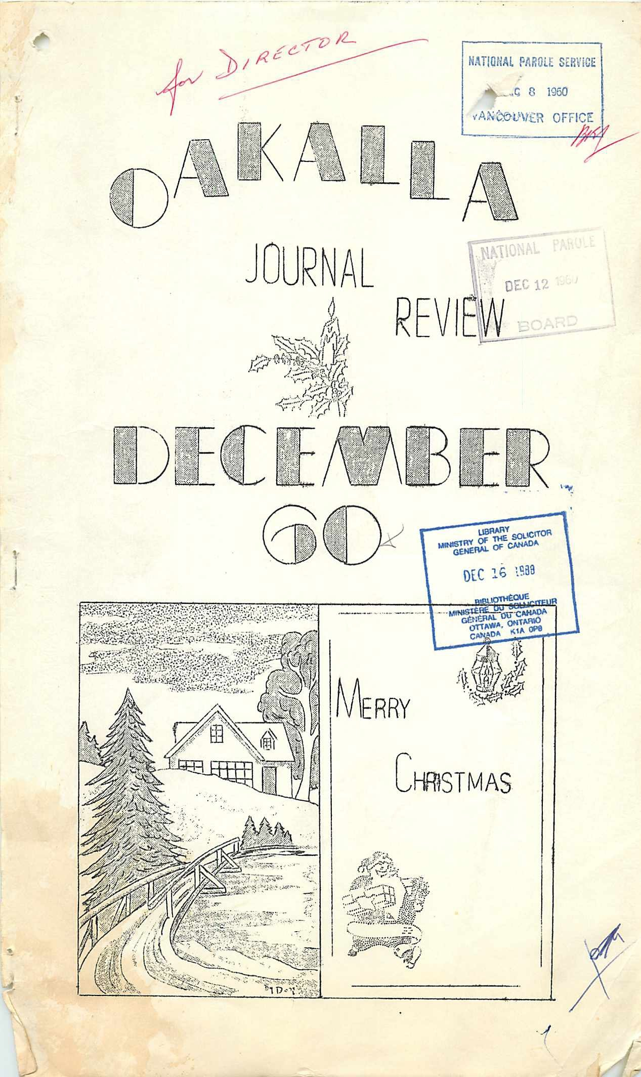Read more about the article Oakalla Journal Review December 1960