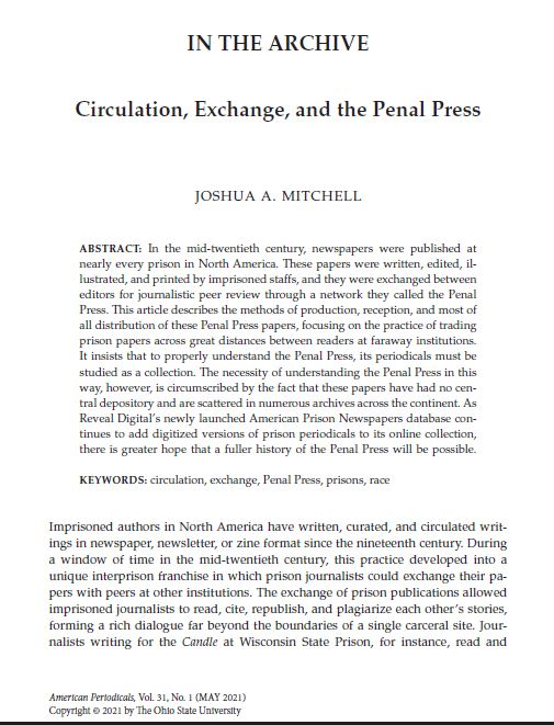 Read more about the article In The Archive: Circulation Exchange and the Penal Press