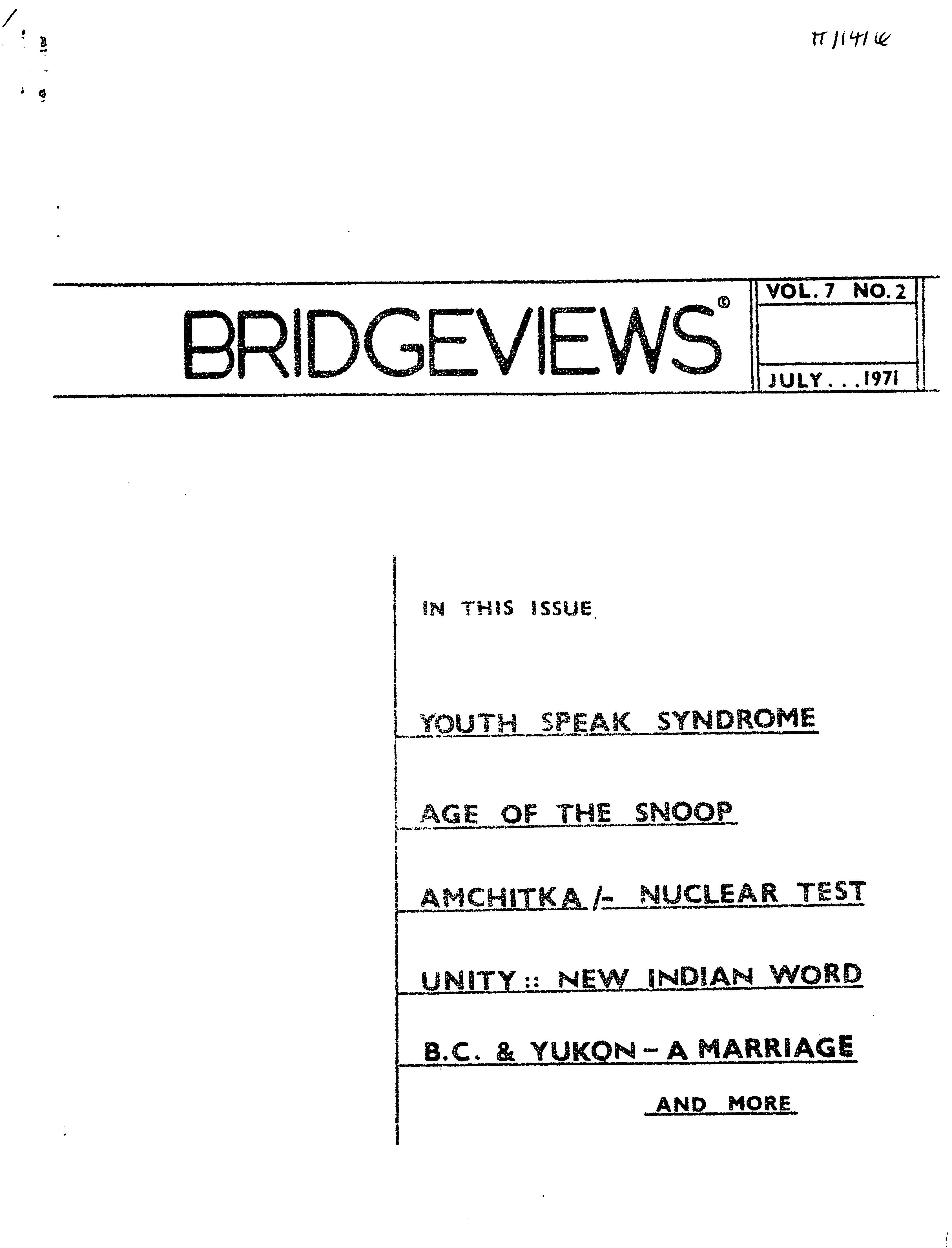 Read more about the article Bridgeviews – July 1971