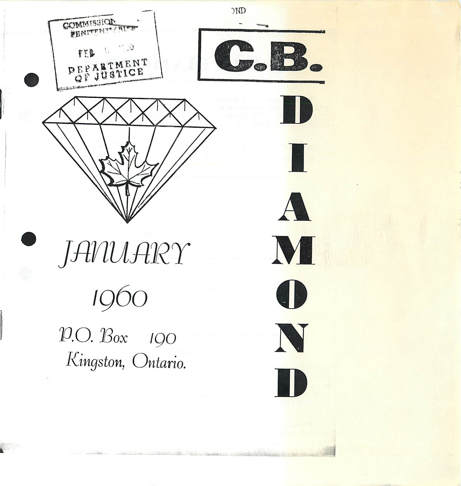 Read more about the article C.B. Diamond – January 1960