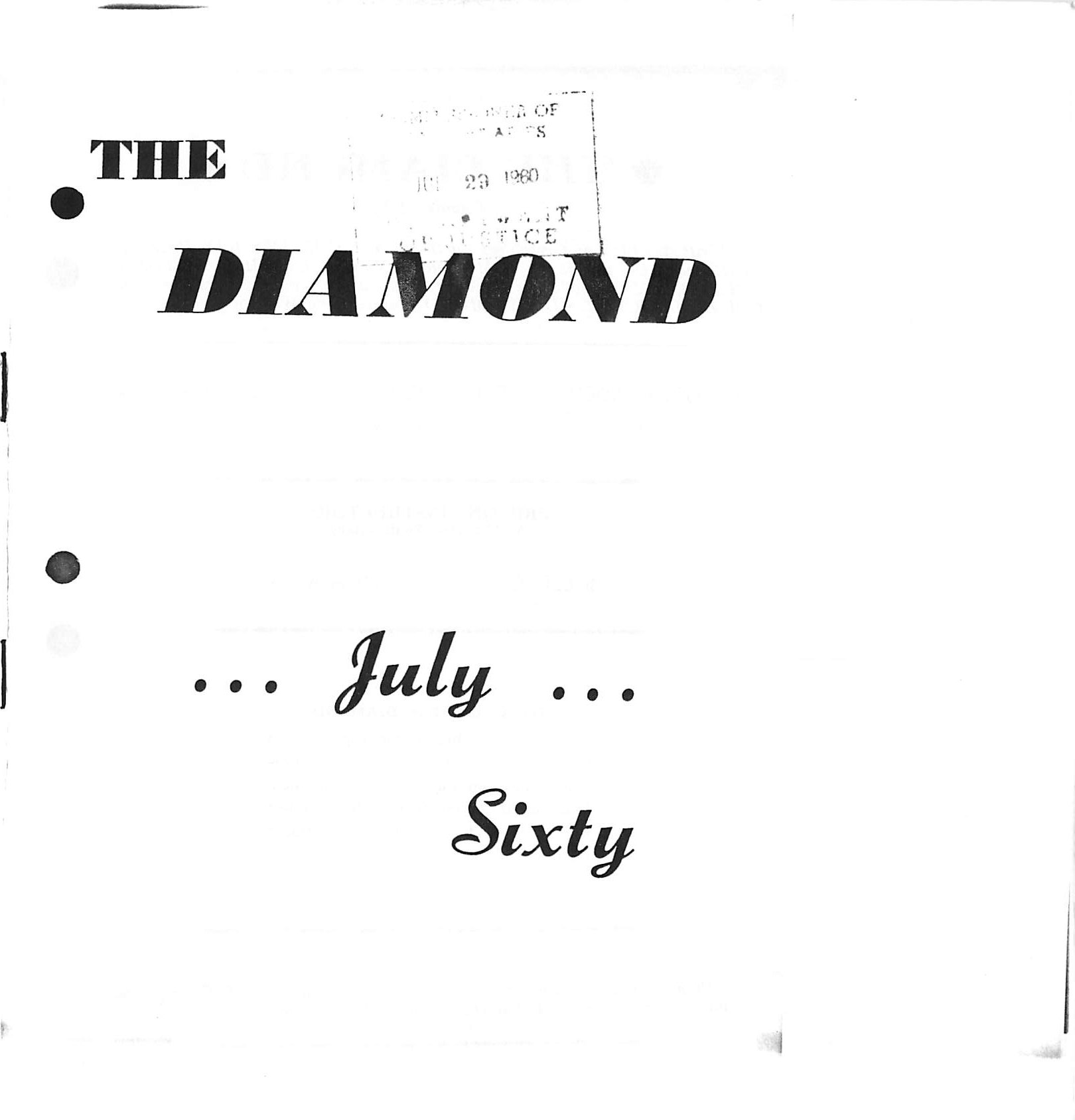 Read more about the article C.B. Diamond – July 1960