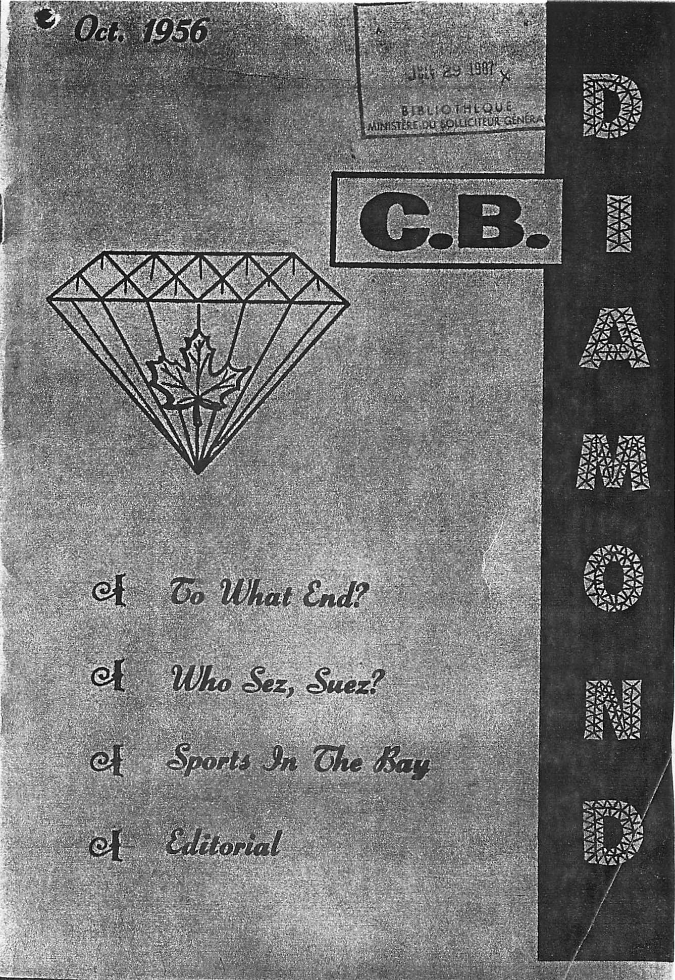 Read more about the article C.B. Diamond – October 1956