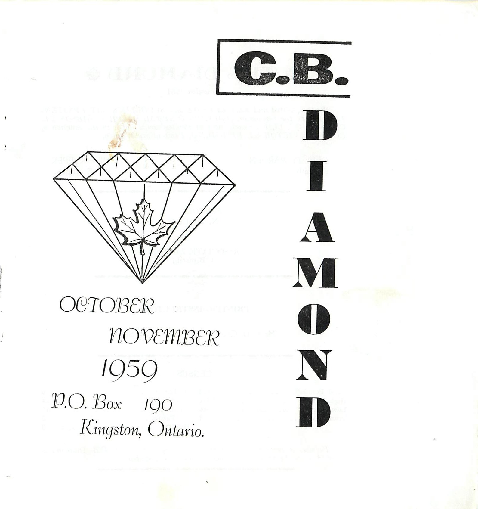 Read more about the article C.B. Diamond – Oct/Nov 1959