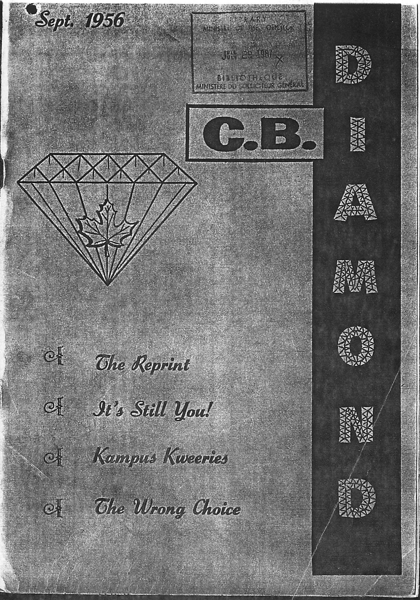 Read more about the article C.B. Diamond – September 1956