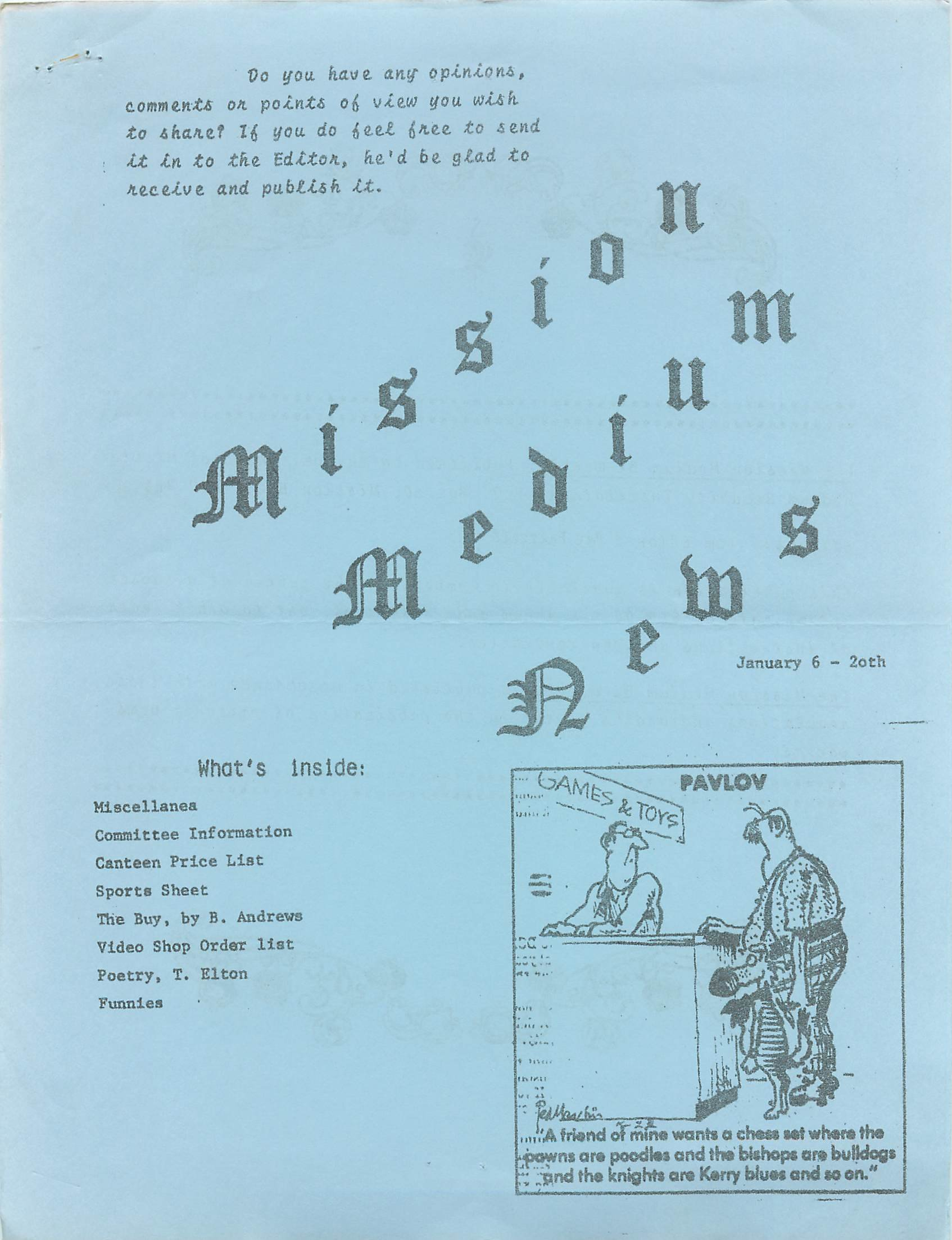 Read more about the article Mission Medium – January 6 1984