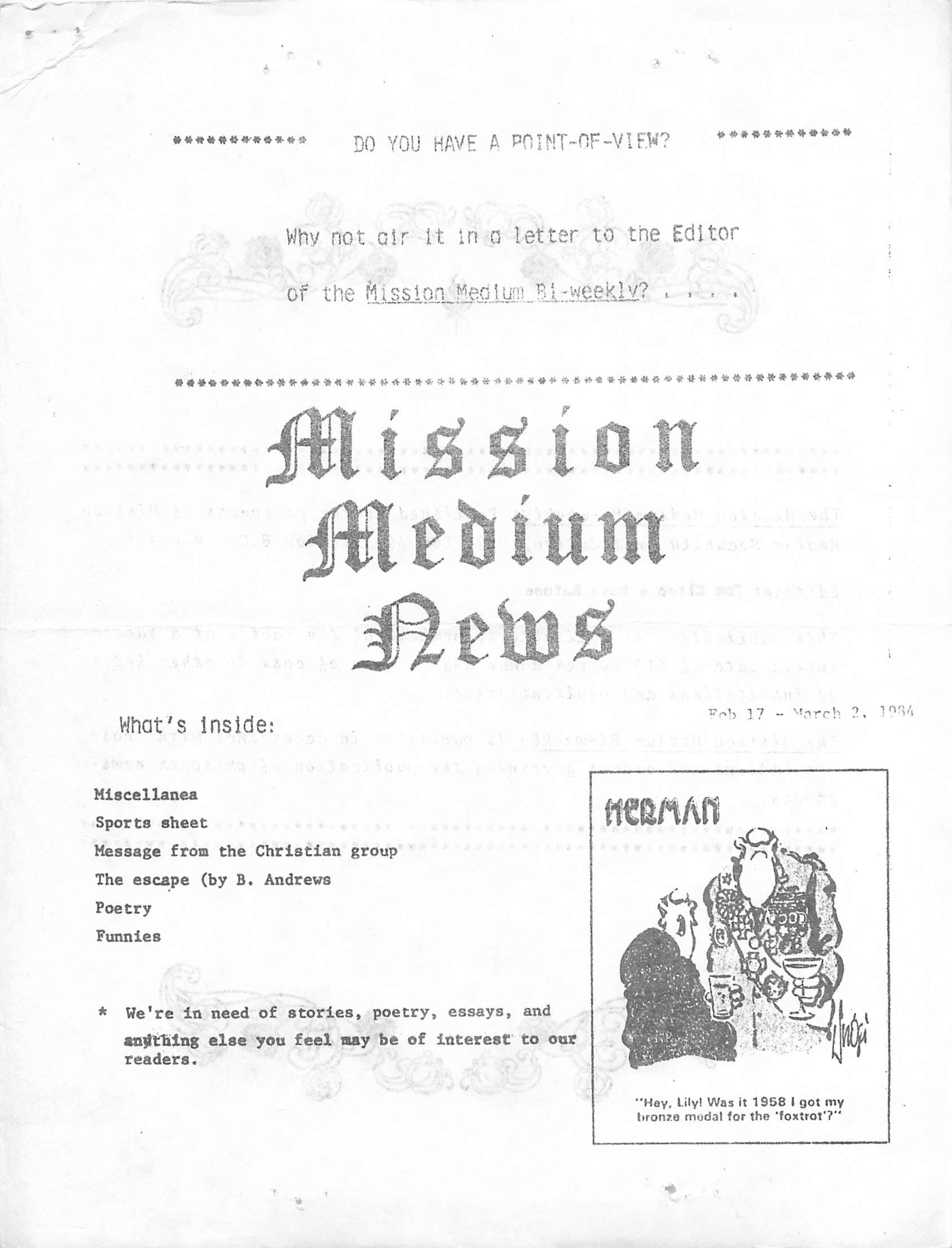 Read more about the article Mission Medium – February 17 1984