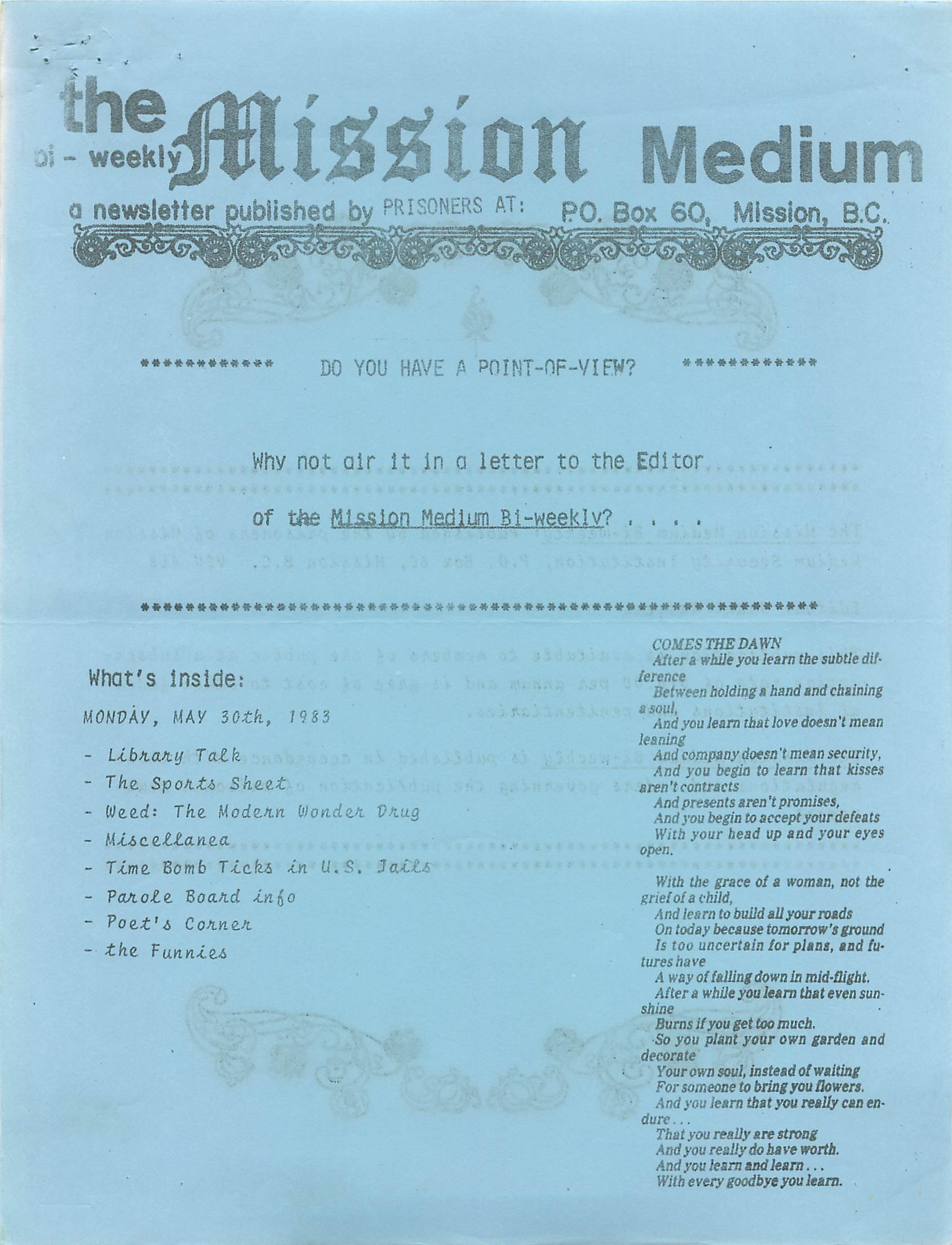 Read more about the article Mission Medium – May 30 1983