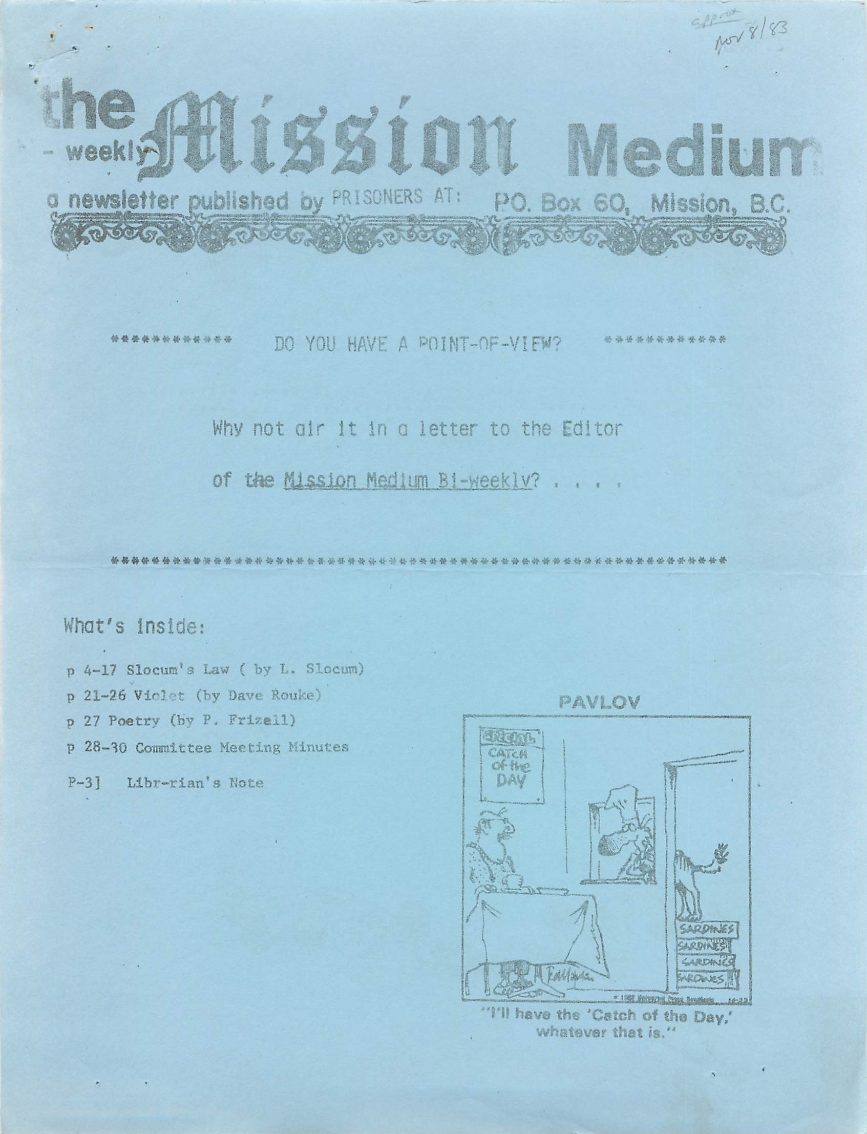 Read more about the article Mission Medium – November 8 1983