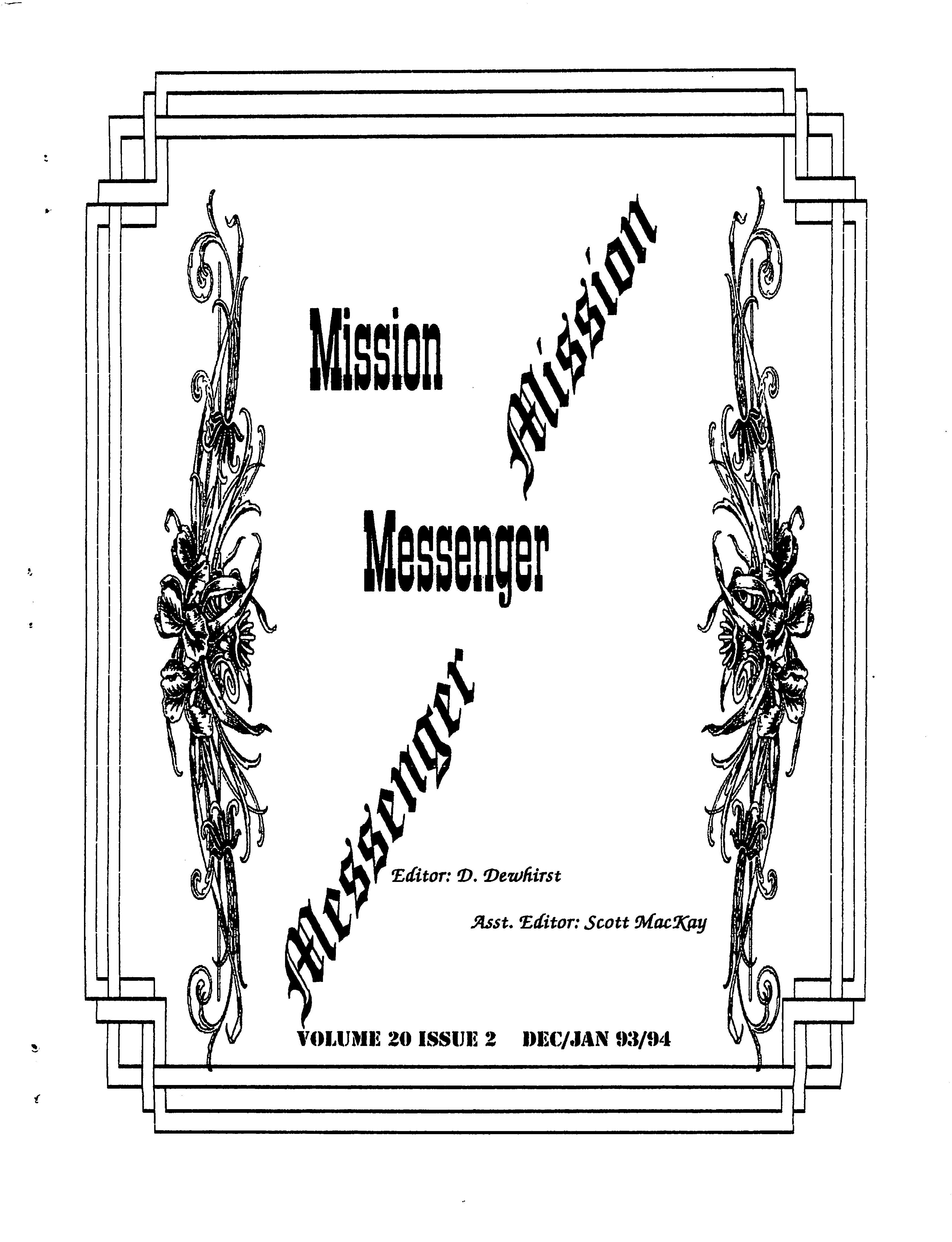 Read more about the article Mission Messenger – Dec/Jan 1993-1994