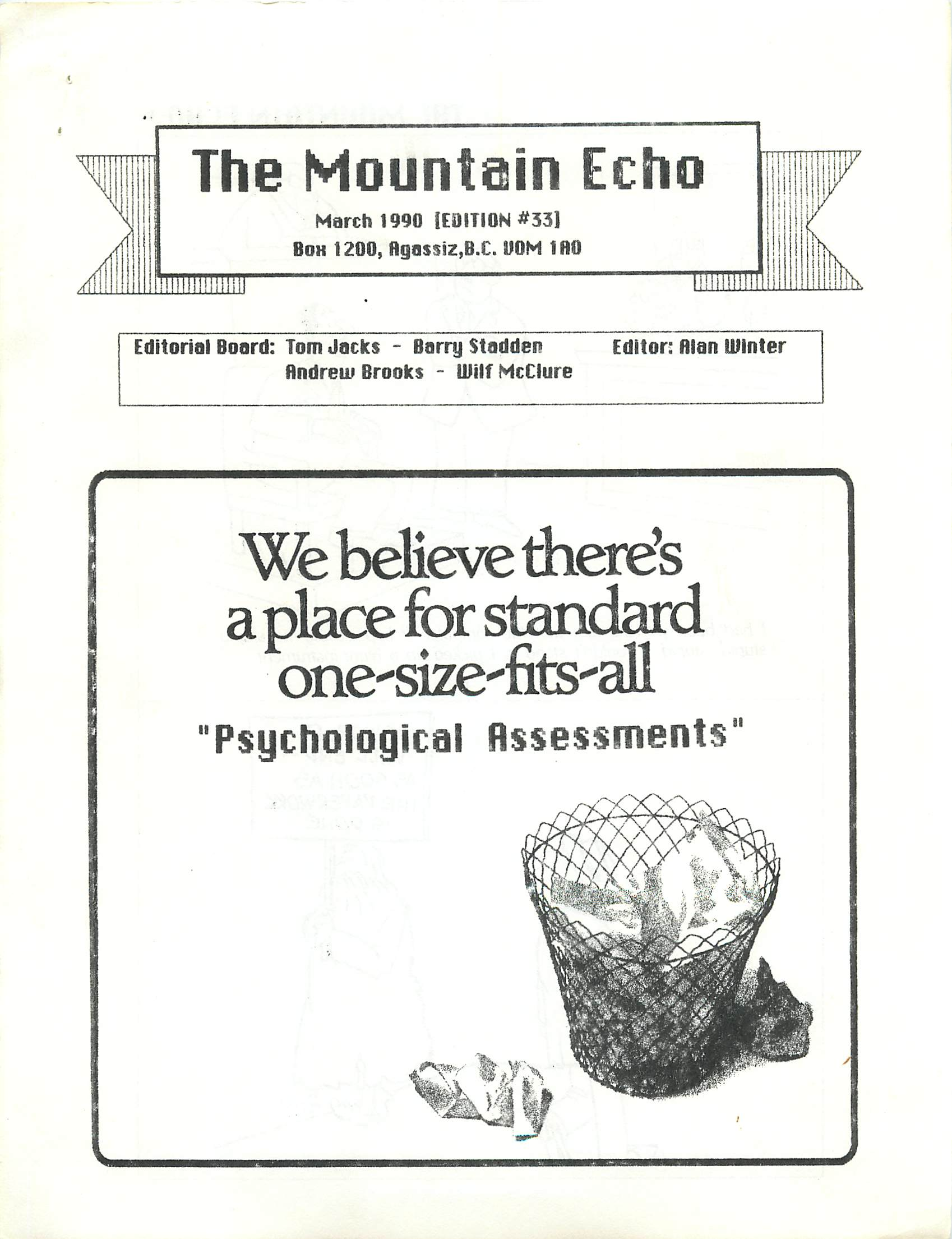 Read more about the article The Mountain Echo – March 1990