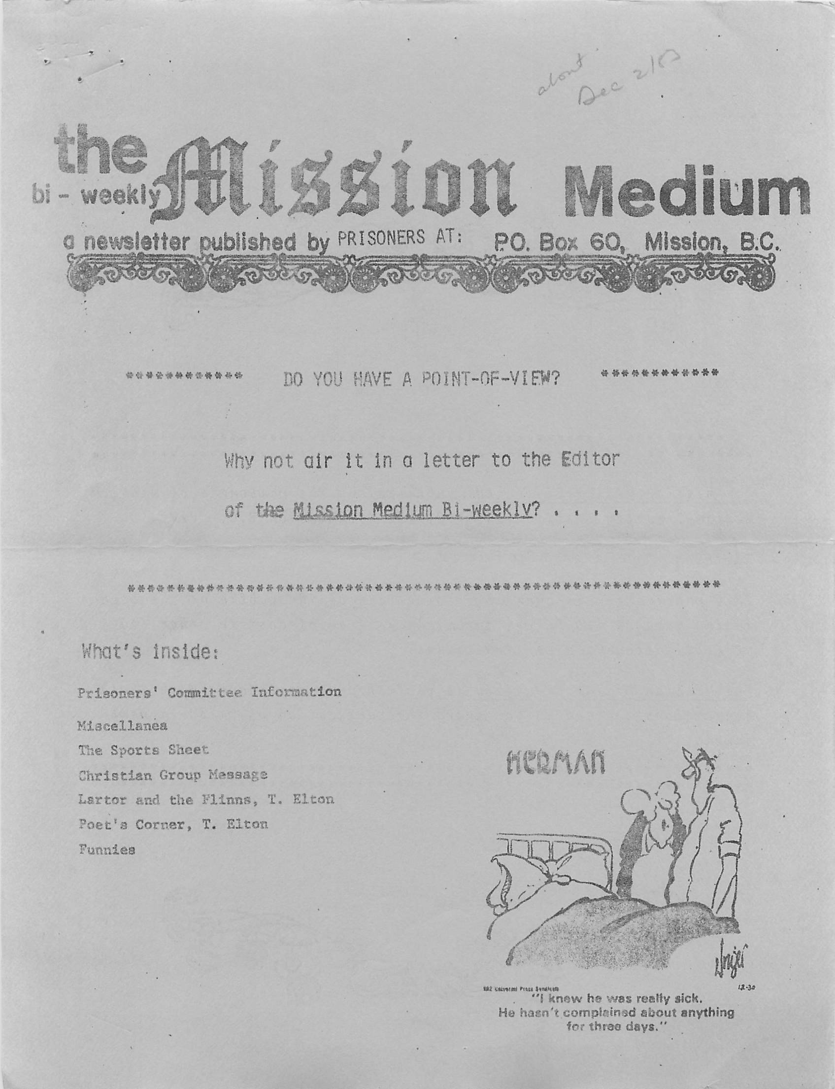 Read more about the article Mission Medium – December 1983