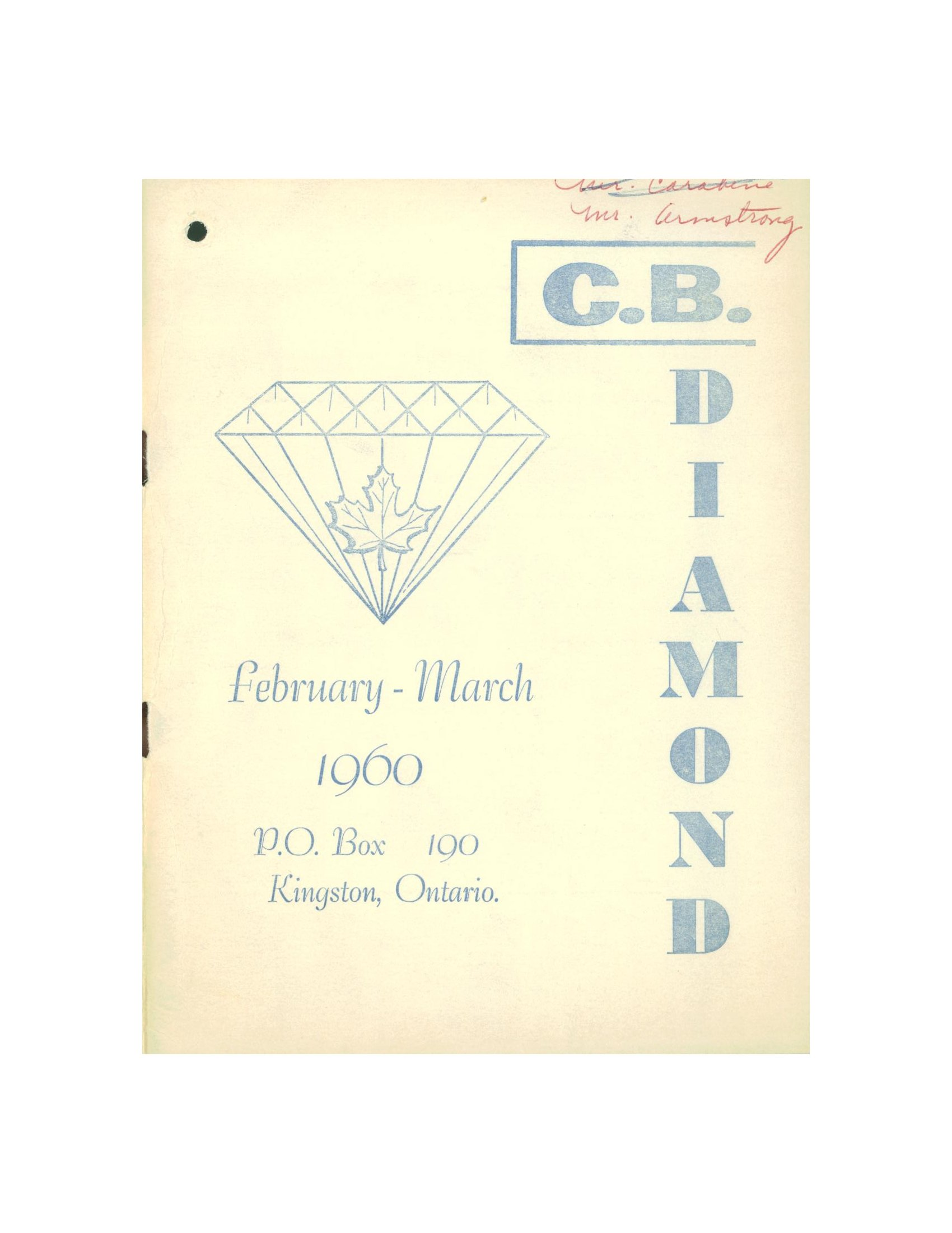 Read more about the article C.B. Diamond – Feb/Mar 1960
