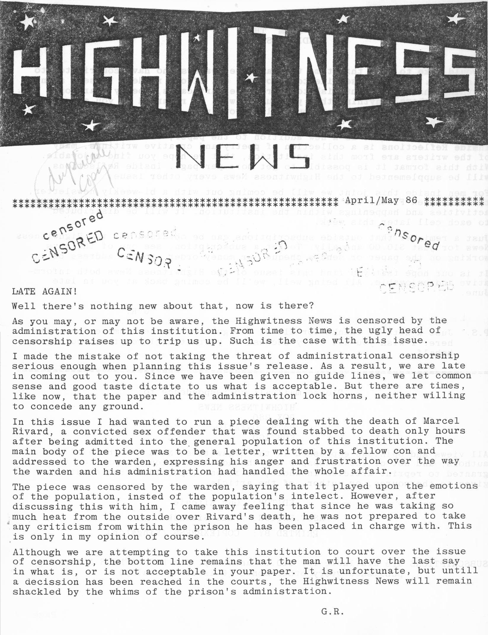 Read more about the article Highwitness News – Apr/May 1986
