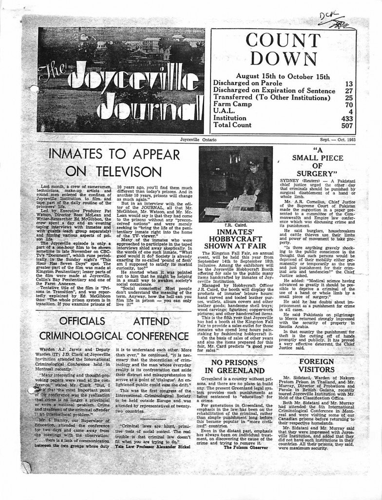 Read more about the article Joyceville Journal – Sep/Oct 1965