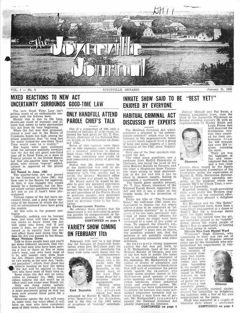 Read more about the article Joyceville Journal