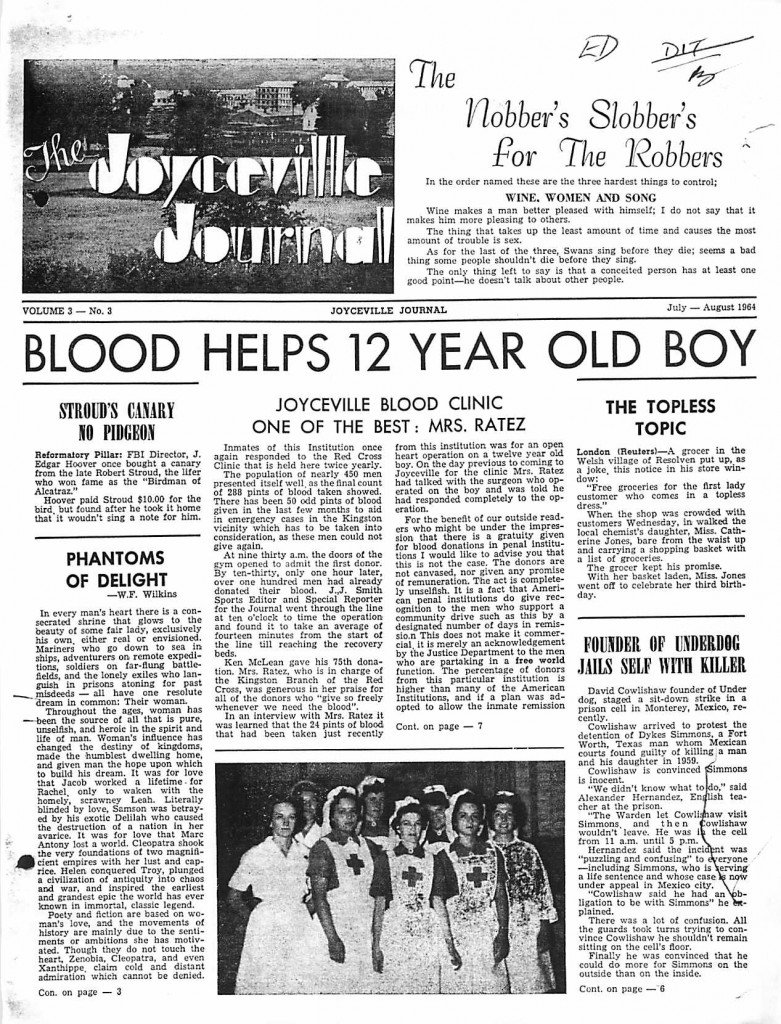 Read more about the article Joyceville Journal – Jul/Aug 1964