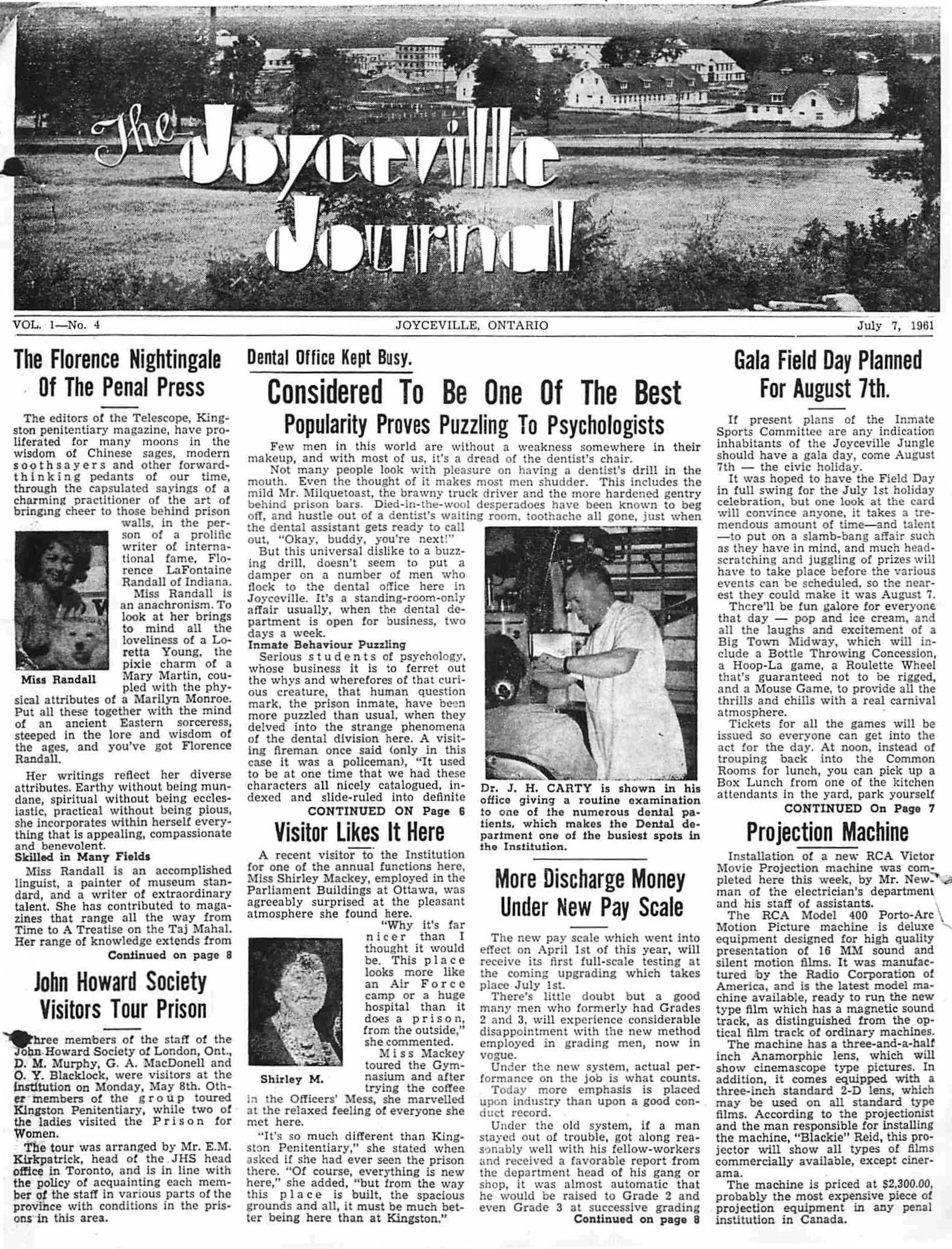 Read more about the article The Joyceville Journal – July 1961
