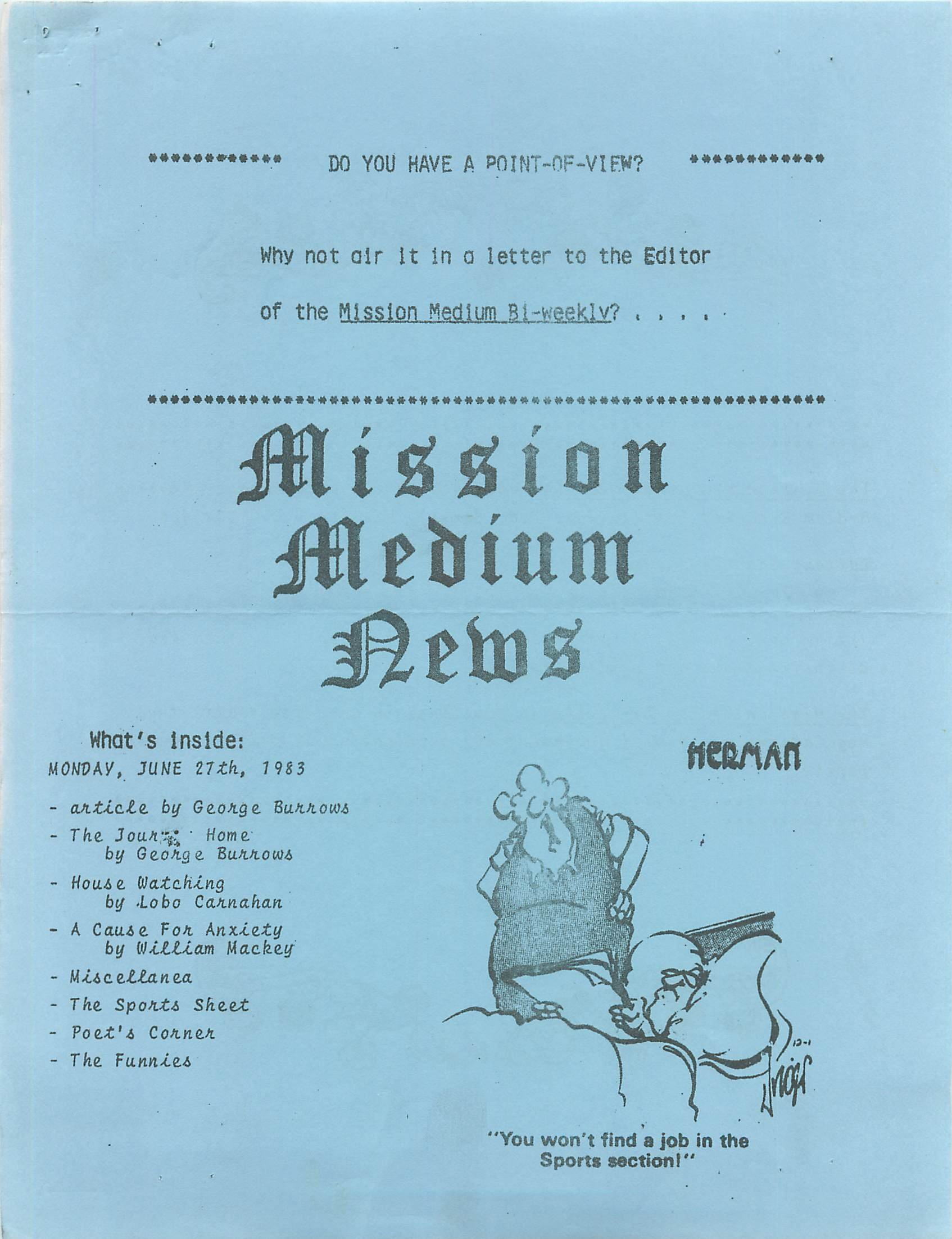 Read more about the article Mission Medium – June 1983