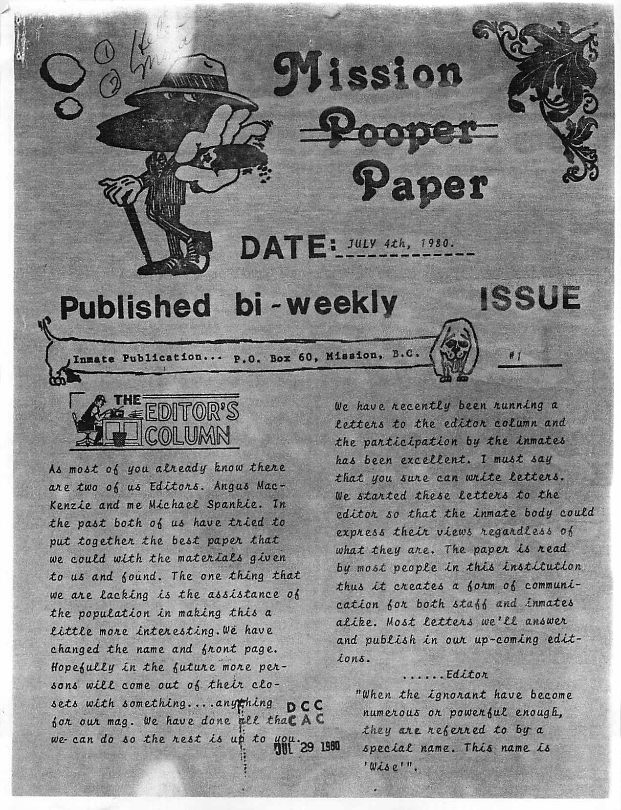 Read more about the article Mission Pooper Paper – July 4, 1980