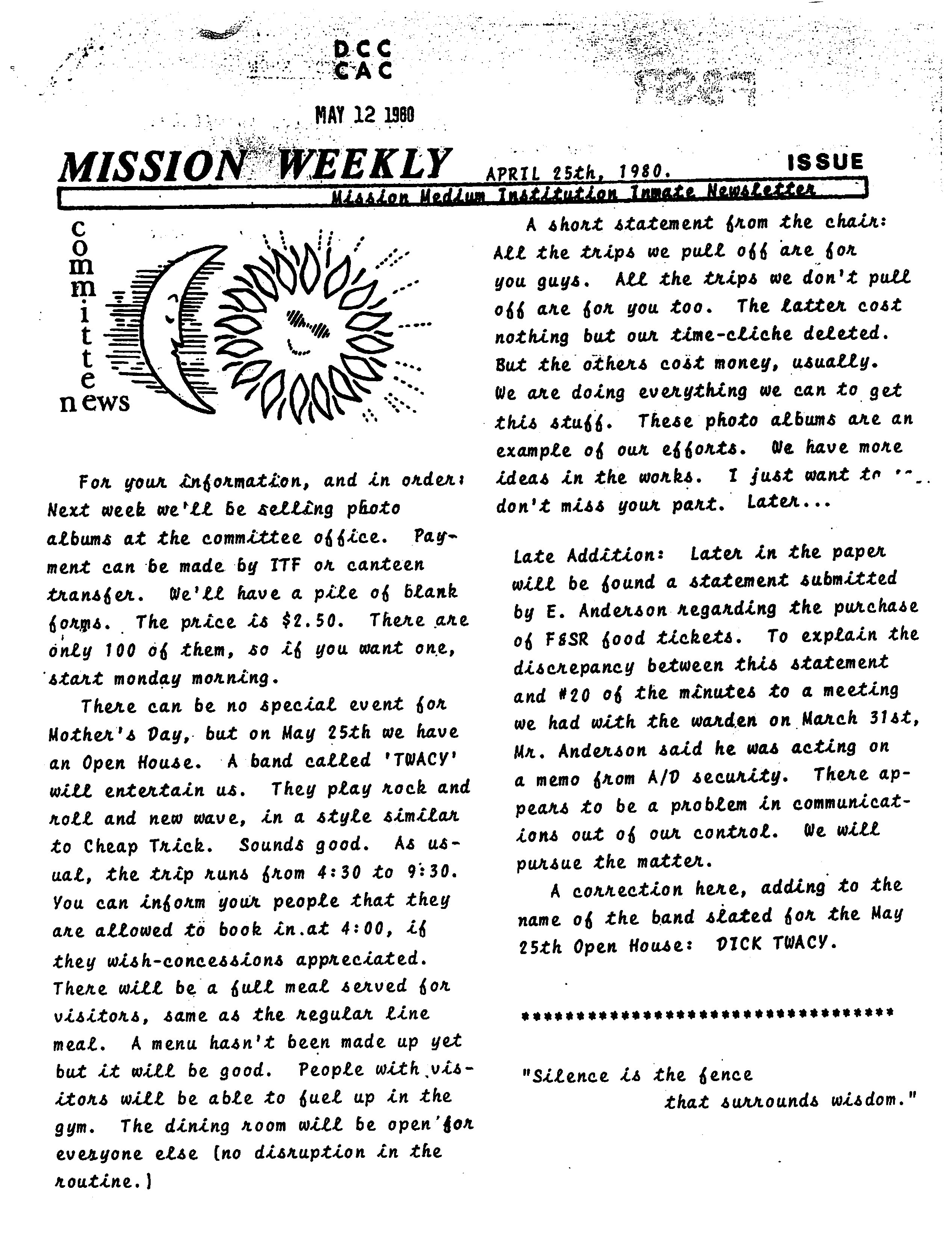 Read more about the article Mission Weekly – April 25, 1980