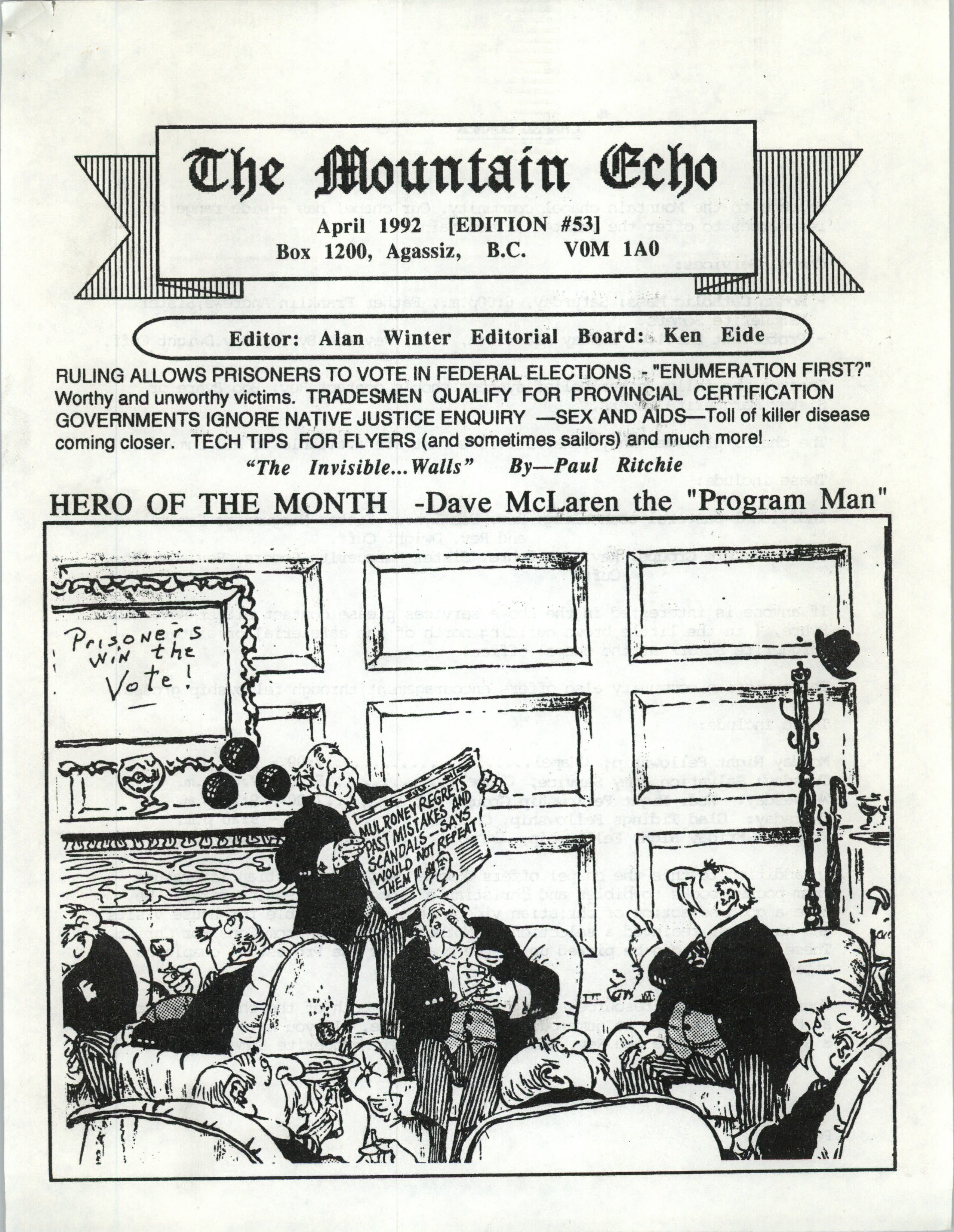 Read more about the article The Mountain Echo – April 1992