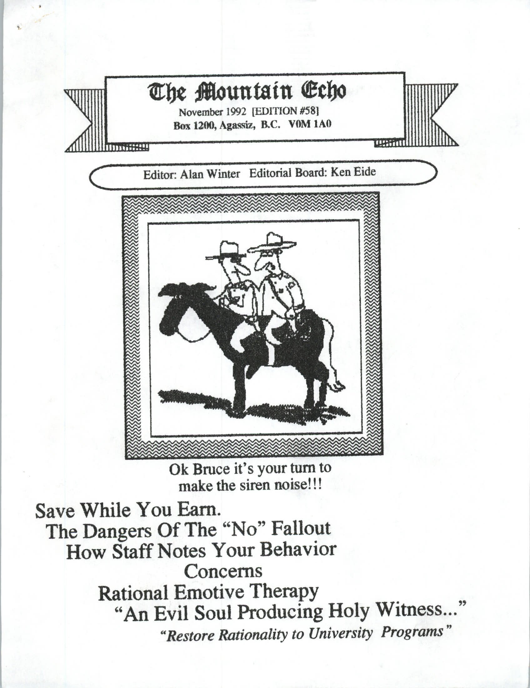 Read more about the article The Mountain Echo – November 1992