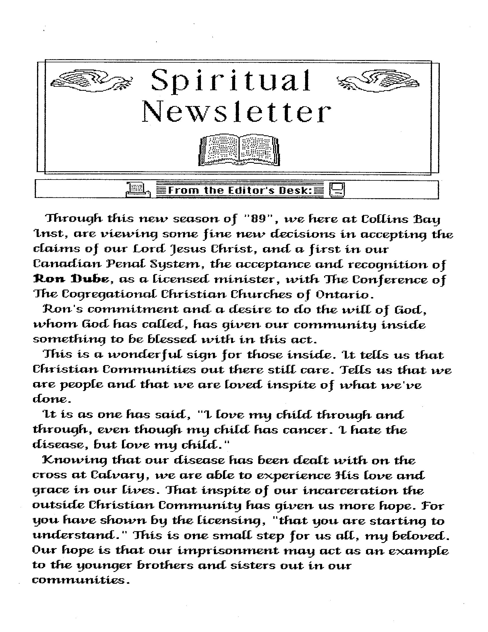 Read more about the article Spiritual Newsletter – 1989