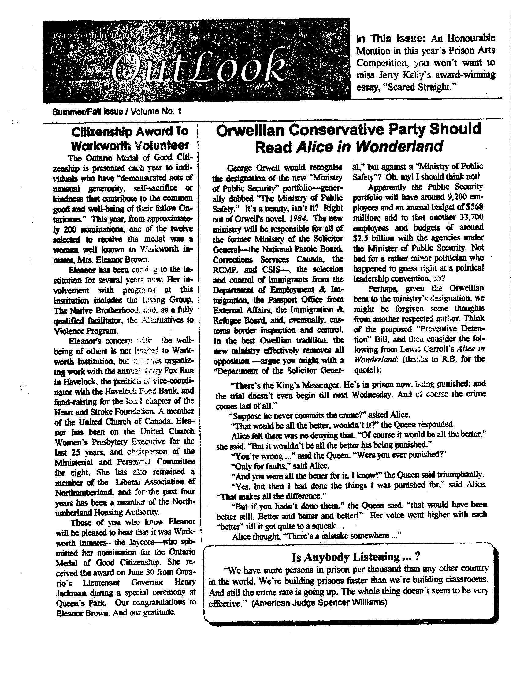 Read more about the article The Outlook – Summer / Fall 1993