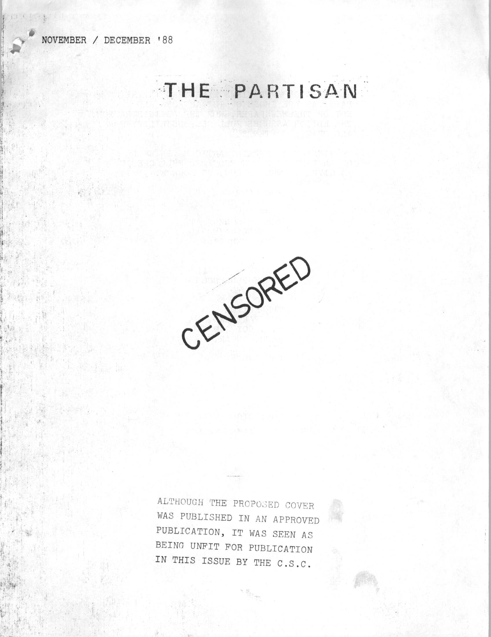 Read more about the article The Partisan – Nov/Dec 1988